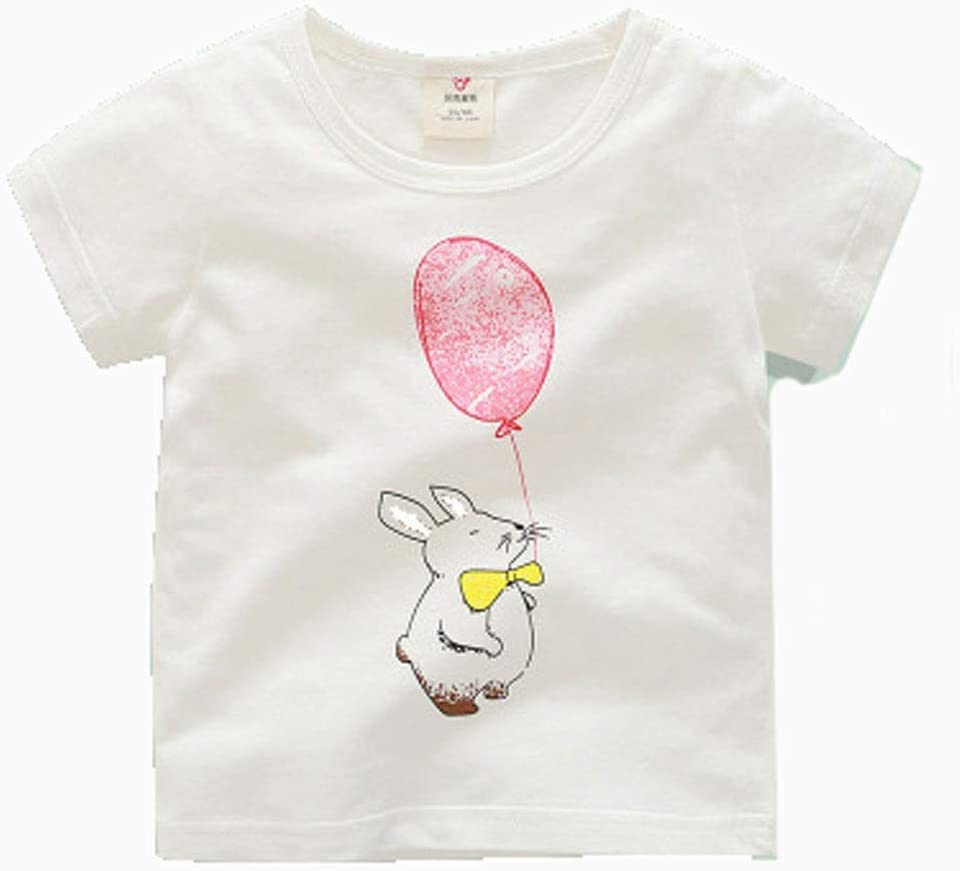 Short-Sleeved t-Shirt Summer Clothes Boys and Girls Kid's Cartoon Round Neck top Cotton Cotton T-Shirt Suitable for Kid with a Height of 90CM-140CM Soft (Color : A, Size : 130CM)