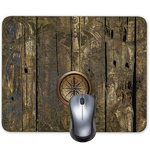 Beautiful World map Navigation Compass Vintage Wood Grain Mouse Pad Office Desktop or Gaming Cloth Surface Natural Rubber Mouse Mat