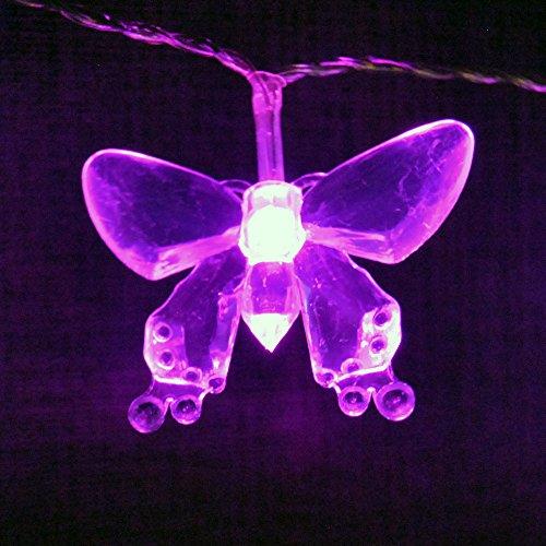 LightsGo® Batteriebetriebene LED-Lichterkette mit Deko-Schmetterlingen, 20 LEDs, 2m, rose, 20LED 2M