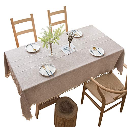 Mantel Algodón Lino Borlas Antimanchas Manteles Prueba de Polvo, Decorativo para Mesas Lavable, Adecuado para Cocinas Exteriores O Interiores