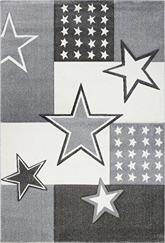 Livone Kuschelweicher Kinderteppich Jugendteppich Sternenteppich Felder Stern in Silber grau anthrazit Weiss Creme Größe 120 x 170 cm
