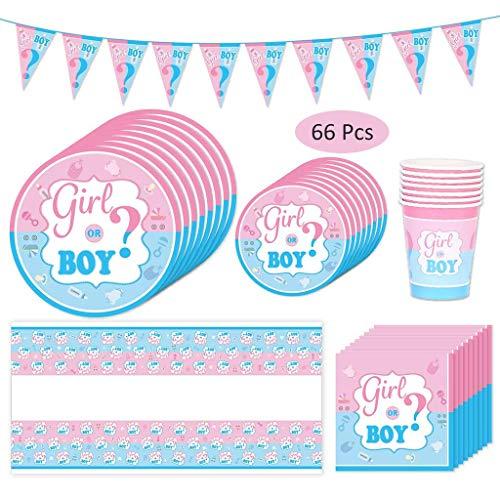 Amycute 66-teiliges Gender Reveal Party Dekoration Babyparty Geschlecht Offenbaren Baby Deko, einschließlich Teller, Becher, Servietten und Tischdecke, für 16 Personen.