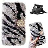 Shinyzone - Funda de piel con tapa para Samsung Galaxy S7 Edge con ranuras para tarjetas, piel de conejo sintética, con purpurina y hebilla de diamante, suave y cálido invierno a prueba de golpes