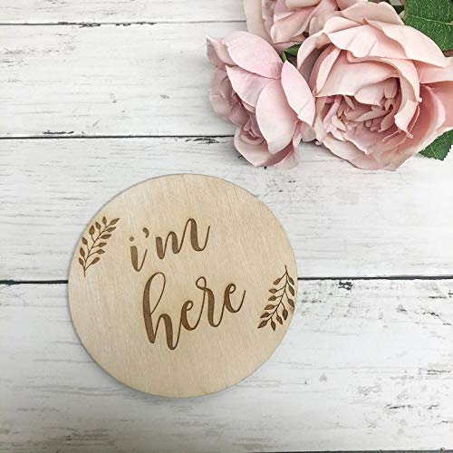 Engraved Wooden Name Sign I'm Popular products Bab Here Announcement excellence Birth
