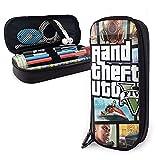GTA-V-Grand-Theft-Auto - Estuche de piel para lápices de gran capacidad, soporte para papelería, organizador de escritorio para escuela y oficina