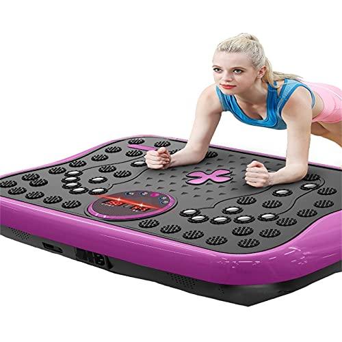 Plataforma Vibratoria 4D Ocupa Muy Poco Espacio Y Solo Pesa 7kg, Podrás Moverla Fácilmente Y Utilizarla En Cualquier Lugar.Dispone De 5 Modos De Entrenamiento (Color:Purple 3D Vibration Plate Machine)