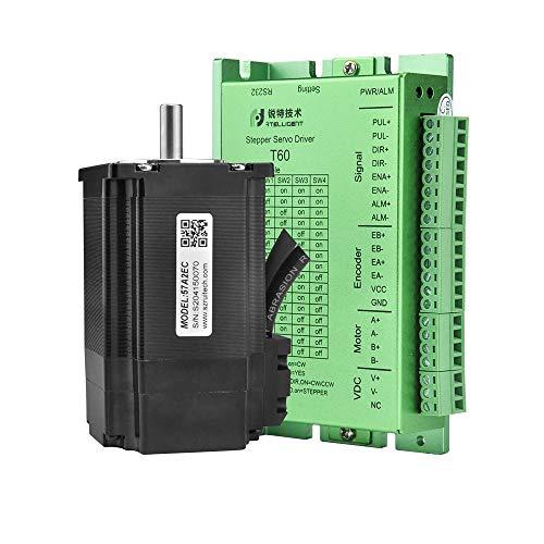 Rtelligent 1 Set Schrittmotor und Treiber-Kit T60 + 57A2EC Nema 23 Closed Loop 2.0NM Bipolarer Hybrid 8 mm Welle 97 mm Motorlänge 1000 Encoderauflösung 24-50 V Gleichspannung für 3D-Druck