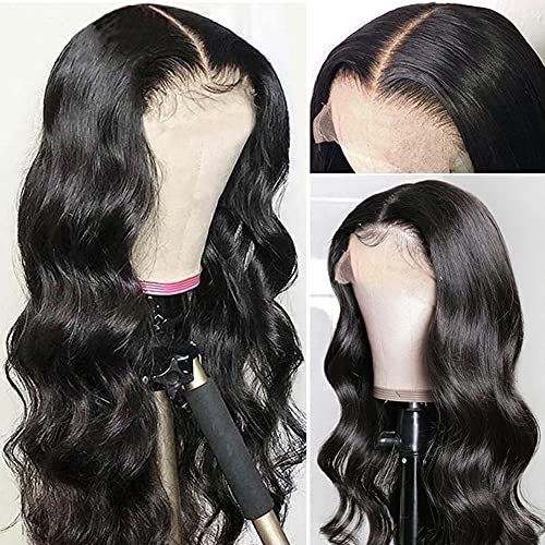 Lace Front Wig Human Hair 18inch Body Wave Human Hair Wigs for Black Women 4x4 Lace Closure Wigs Pre Plucked Hairline with Baby Hair 150% Density Natural Color