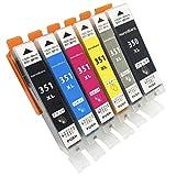 monoBlanc. [インクカートリッジ] canon (キャノン) プリンター インク 5色6本セット [BCI-351XL+BCI350XL] 互換インク 最新版 (ICチップ 残量表示機能あり 大容量マルチパック)