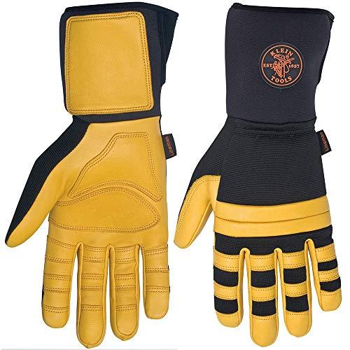 Klein Tools 40082 Lineman Work Gloves, Large, Yellow