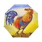 WowPrint Paraguas compacto resistente al viento, diseño de gallina de campo, portátil y ligero para un fácil transporte