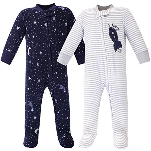 Yoga Sprout Unisex Baby Fleece Sleep and Play, Spaceship, 0-3 Months