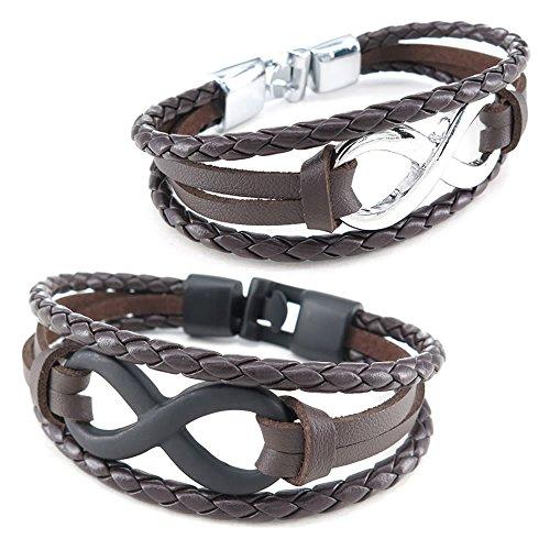 KONOV Jewellery Herren Damen Leder Armband, 2Infinity Armreif, Braun Schwarz Silber (mit Geschenk Tüte)