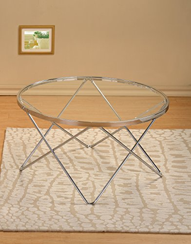 Modern Design Chrome Finish with Glass Top Round Cocktail Coffee Table