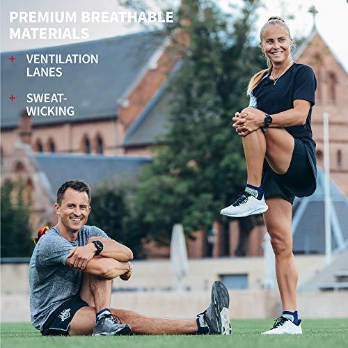 Low-Cut Pro Ankle Running Socks 5 Pack, for Men & Women, Anti-Blister, Athletic (Multicolour: 1 x Caribbean Blue, 2 x Black, 2 x White, UK 6-8 // EU 39-42)