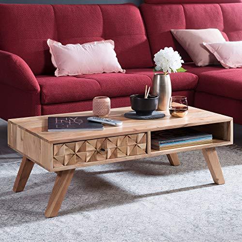 KADIMA DESIGN Mesa de café Awer, 95 x 35 x 50 cm, madera maciza de acacia, mesa de salón con cajón, mesa de estilo rústico, color marrón, mesa de café maciza, mesa de salón, moderna