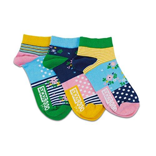 United Oddsocks - 3 Kurze Socken Damen 37-42, Modell: Blumen, Streifen und Punkte L7
