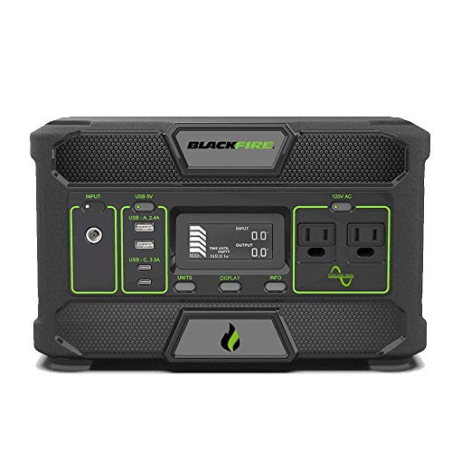 Blackfire Portable Power Station PAC500, 546Wh Lithium Battery Pack, X2 120V/300W Pure Sine Wave AC Outlet, Solar Capable Battery for Camping, Tailgating, Emergency, and Cpap Backup