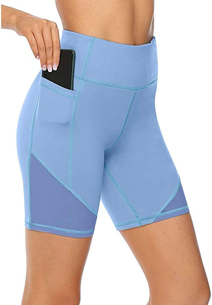 POLLYANNA KEONG High Waist Yoga Shorts for Women Tummy Control Athletic Workout Running Shorts with Pockets Workout Shorts