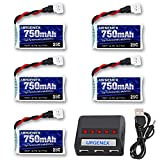 URGENEX 3.7V Lipo Battery 750mAh 25C Rechargeable 5 Pack Lipo Batteries with Molex Plug 5 in 1 Charger for Syma X5 X5A X5SW X5C X5C1 RC Quadcopter Drone Spare Parts