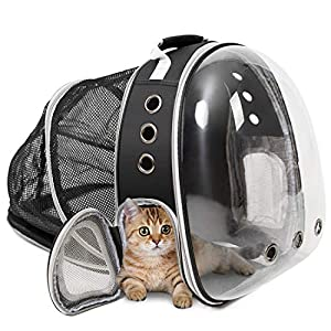 ZolooPet Dog Expandable Cat Backpack Carrier, Dual Expandable Pet Carrier for Cats and Dogs, Up to 15 Lbs, Space Capsule Transparent Clear Bubble Pet Carrying Hiking Traveling Backpack