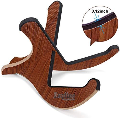Exqline Gitarrenständer Holz Gitarrenhalterung, Tragbarer Ständer Klappbar, Faltbarer Gitarrenständer mit Schwammmatte für Akustik Klassische Gitarren Bass Banjo