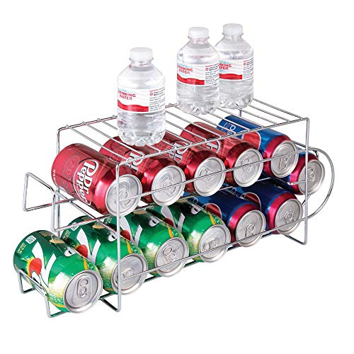 mDesign 2-Tier Metal Wire Standing Pop/Soda and Food Can Dispenser Storage Rack Organizer with Top Shelf for Kitchen Pantry, Countertop, Cabinet - Holds 12 Cans - Chrome