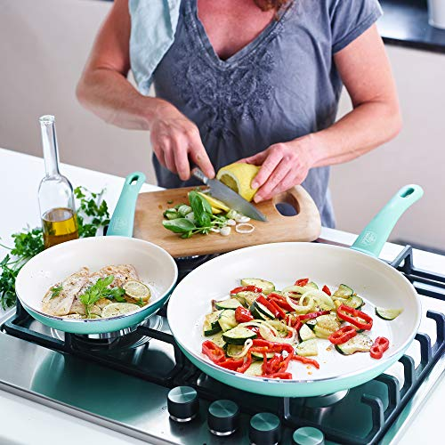 """GreenLife Soft Grip Healthy Ceramic Nonstick, Frying Pan/Skillet Set, 7"""" and 10, Turquoise"""