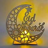 Eid Mubarak colgante de madera decoraciones de Ramadán musulmán de madera DIY lámpara LED EID suministros de fiesta para decoración del hogar
