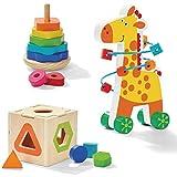Giocattolo in legno a forma di giocattolo, arcobaleno impilabile giocattolo e giraffa labirinto – attività in legno – ottimo giocattolo educativo multi-sensoriale per bambini + 3 4 5 anni