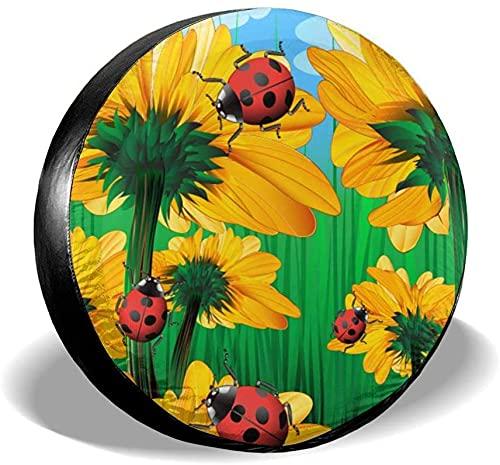 Funny Sunflowers Ladybugs - Funda para llanta de repuesto,poliéster,universal,de 17 pulgadas,para llanta de repuesto,para remolque,RV,SUV,rueda de camión,camión,camper,accesorios de remolque de viaje