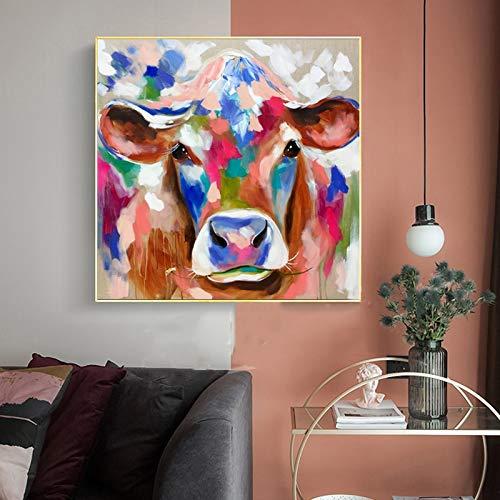 BUHUAZXM dier koe kleurrijk canvas schilderij muur kunstdruk poster decoratieve foto voor de woonkamer 50x50cm Geen frame.