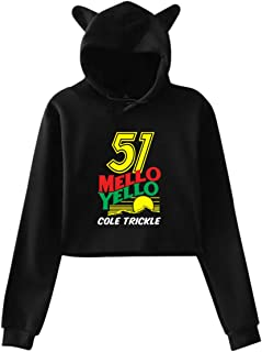 51 Mello Yello Cole Trickle Short Sweatshirt Cat Ears Hoodie Long Sleeve Women