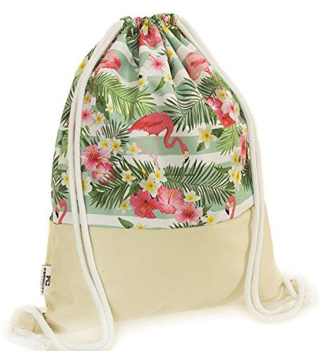 Ferocity Prämie Tasche Turnbeutel Rucksack Sportbeutel Bag Gym-sack modisch weiß und grün Sommer Flamingos rosa [010]