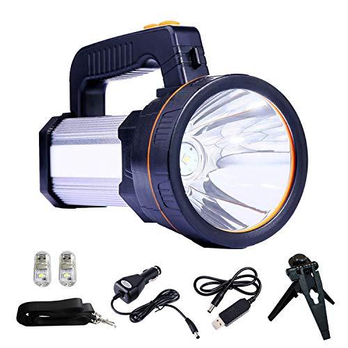 CSNDICE Taschenlampe Super Bright Tragbarer Hand-LED-Scheinwerfer 7000 Lumen 9000mAh USB-wiederaufladbare Taschenlampen IP5 Wasserdichte Scheinwerfer- Power Bank (Silver)