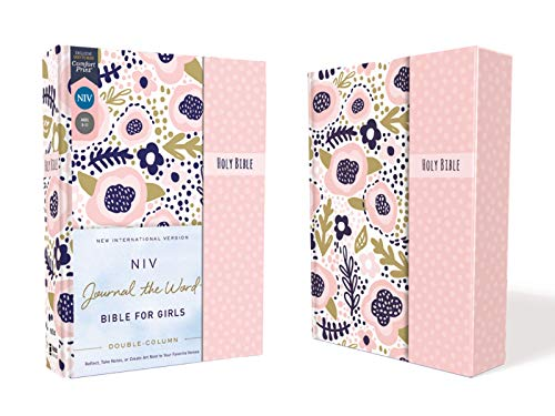 NIV, Journal the Word Bible for Girls, Double-Column, Hardcover, Pink, Magnetic Closure, Red Letter, Comfort Print: Reflect, Take Notes, or Create Art Next to Your Favorite Verses
