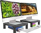 Monitor Stand Riser Computer Laptop Printer Desk Storage Organizer, Height Adjustable Shelf - 2 Pack Black