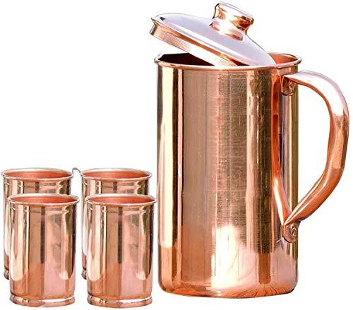 SKAVIJ TCJ3_4 Indien INOX cuivre d'eau à cruche avec Couvercle Cocktails 100% Robuste 1.6 Litre
