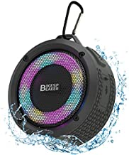 HANRICO Portable IPX7 Waterproof Bluetooth Speaker, Wireless Pairing, LED Lights, 5W HD Sound and Rich Stereo Bass, 10H Playtime, Built in Mic, TWS Pairing for Shower, Home, Outdoor, Cycling(Black)