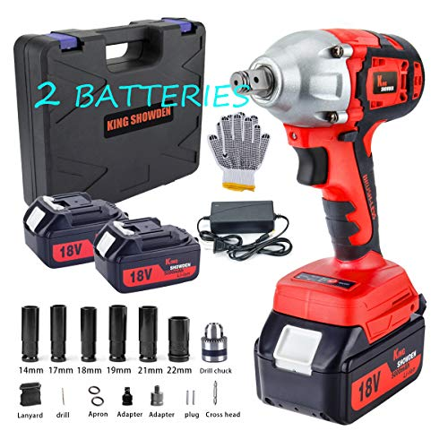 18V Cordless Impact Wrench, King Showden Rechargeable Lithium-ion Electric Brushless Power Impact Wrench kit, with Drill Set, 2pcs 5AH Battery, Work Gloves &Carrying Case
