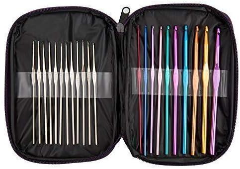 BetyBedy 22pcs Mixed Aluminum Handle Crochet Hooks, Ergonomic Knitting Needles, Weave Yarn Set, 0.6~6.5mm