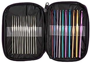 BetyBedy 22pcs Mixed Aluminum Handle Crochet Hooks, Ergonomic Knitting Needles, Weave..