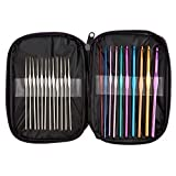 BetyBedy 22pcs Mixed Aluminum Handle Crochet Hooks, Ergonomic Knitting Needles, Weave Yarn...