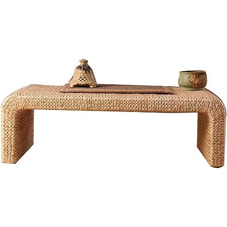 Tables basses Meubles/Salon Style Japonais Rotin Paille Tatami, Balcon en Bois Massif Table Et Chaise, Surbaissées, Tissées À La Main, l'environnement Et Insipide en Bois Massif Squelett