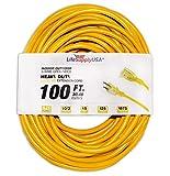 LifeSupplyUSA 10/3 100ft SJTW Lighted End Extension Cord, 15 Amp, 125 Volt, 1875 Watt, Super Heavy Duty Outdoor Jacket (100 feet)
