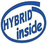 カッティングステッカー HYBRID inside (ハイブリッド) (2枚1セット) 約88mmX約95mm ブルー 青