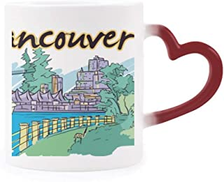 Canada Flavor Vancouver Landmark Picture Morphing Mug Heat Sensitive Red Heart Cup