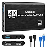 Rybozen Game Capture Card Tarjeta de Captura de Video USB 3.0 HD 1080P Grabación de Video HDMI con transmisiones en Vivo Dispositivo de grabación Tarjeta de Captura de transmisión para