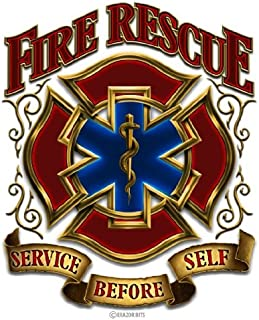 Collectible Firefighter Decals (4in,2pack), Share Your Appreciation and Support with Our Fire Rescue Gold Shield Stickers ...