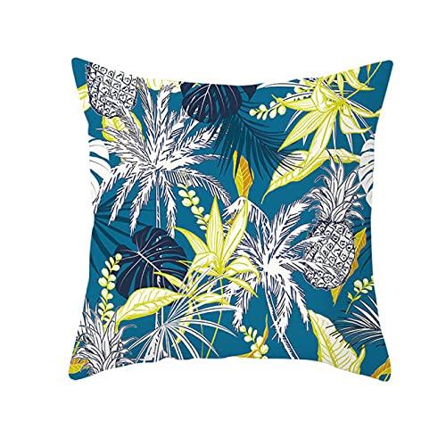 BANIKOP Funda de Almohada con Plantas Tropicales, Funda de Almohada Decorativa con Hojas Verdes de Verano, Funda de Almohada de poliéster con Plantas Tropicales